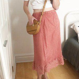 Vintage Parisian Pink Crochet Knit Lace Midi Skirt